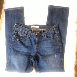 Levi's 505 Straight Leg Dark Wash Distressed Jeans